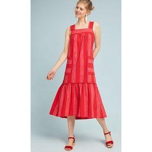 Maeve Anthropologie Tonal Stripe Red Midi Dress S